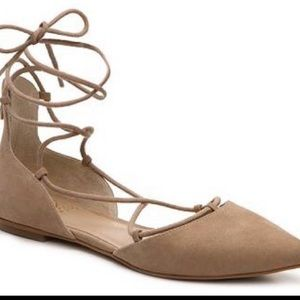 Vince Camuto nude suede lace up flats